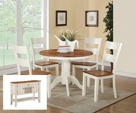 Spice and Buttermilk 5 Pc Dining Set and Server Image